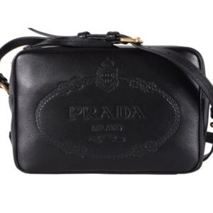 NWT Prada  Black Glace Leather Bandoliera Purse